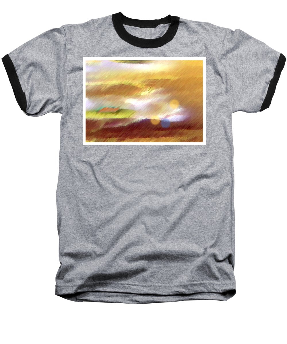 Landscape Baseball T-Shirt featuring the painting Valleylights by Anil Nene