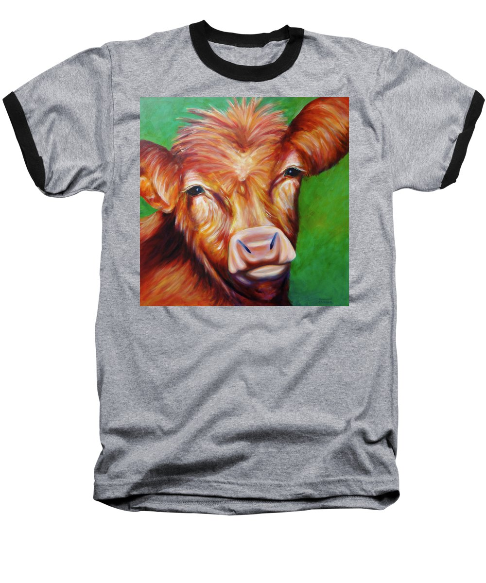 Bull Baseball T-Shirt featuring the painting Van by Shannon Grissom