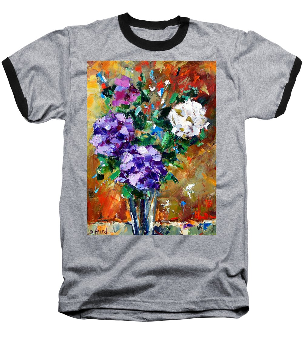 Flowers Baseball T-Shirt featuring the painting Vase Of Color by Debra Hurd