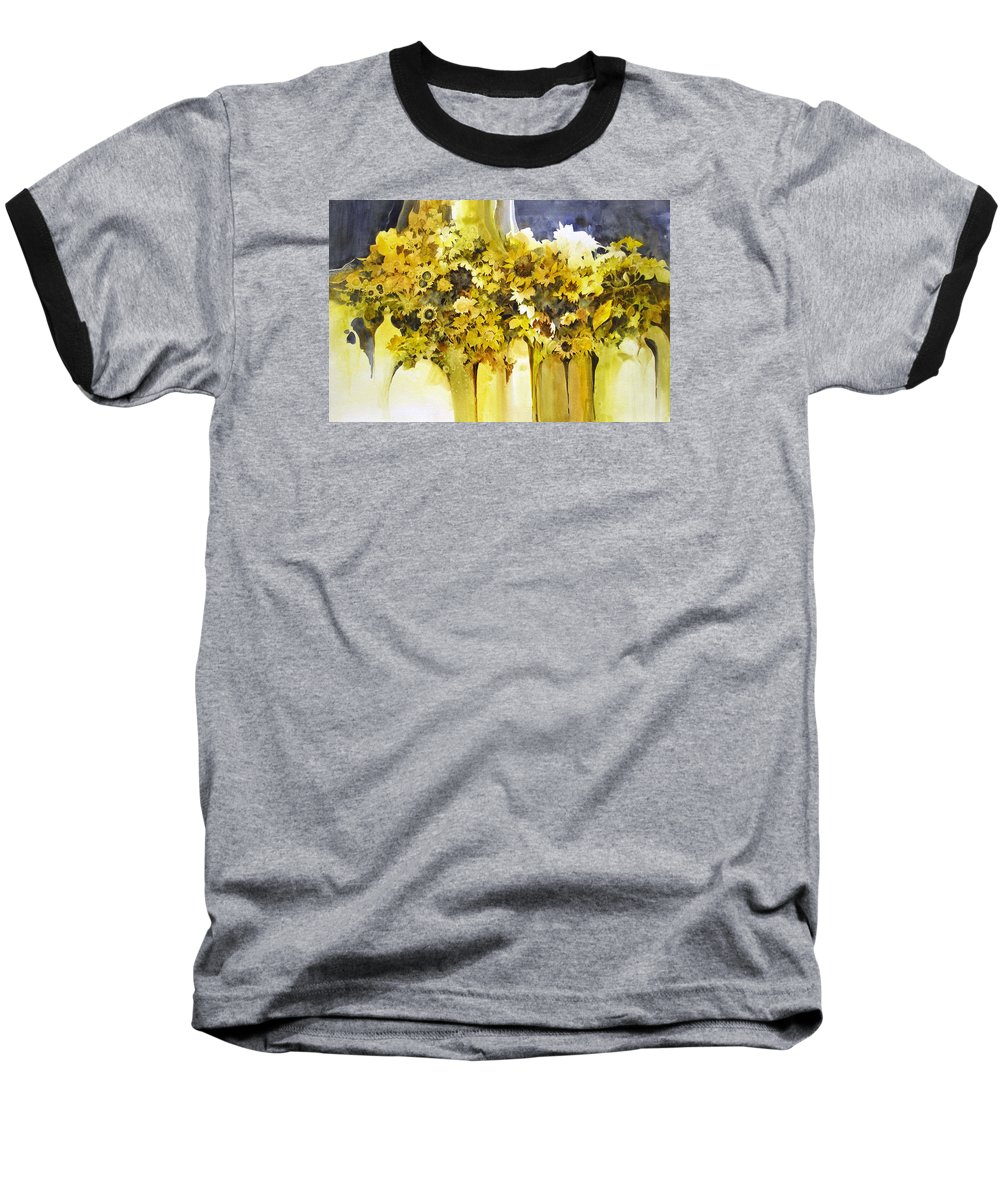 Yellow Flowers;sunflowers;vases;floral;contemporary Floral; Baseball T-Shirt featuring the painting Vases Full Of Blooms  by Lois Mountz