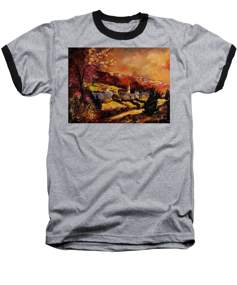 River Baseball T-Shirt featuring the painting Vencimont Village Ardennes by Pol Ledent