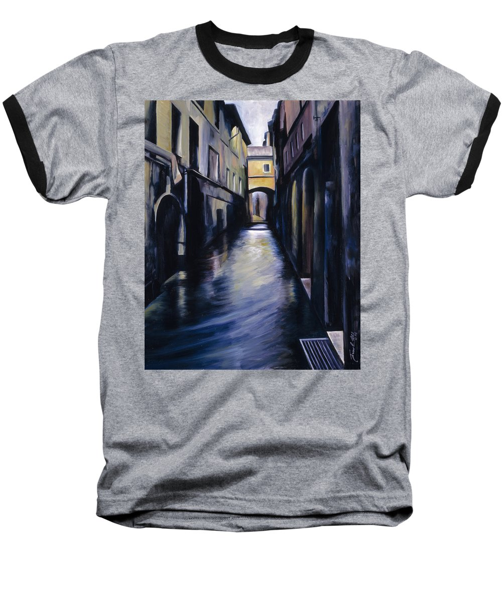 Street; Canal; Venice ; Desert; Abandoned; Delapidated; Lost; Highway; Route 66; Road; Vacancy; Run-down; Building; Old Signage; Nastalgia; Vintage; James Christopher Hill; Jameshillgallery.com; Foliage; Sky; Realism; Oils Baseball T-Shirt featuring the painting Venice by James Christopher Hill