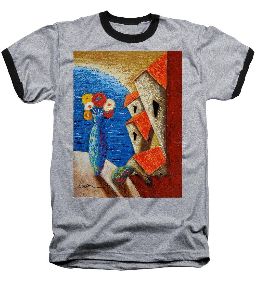 Landscape Baseball T-Shirt featuring the painting Ventana Al Mar by Oscar Ortiz