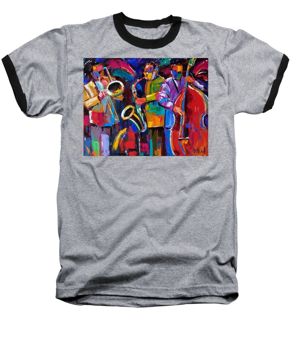 Jazz Baseball T-Shirt featuring the painting Vibrant Jazz by Debra Hurd