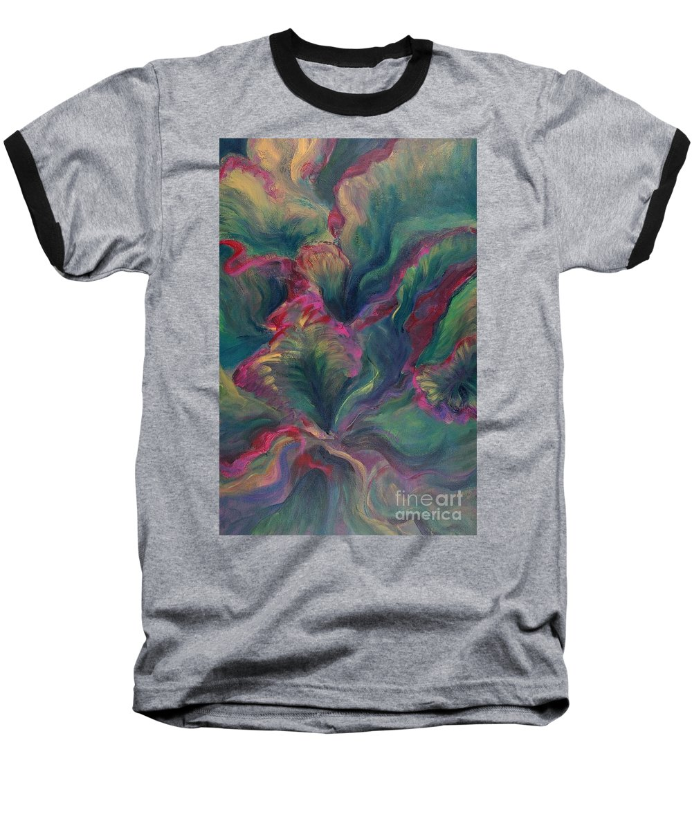 Leaves Baseball T-Shirt featuring the painting Vibrant Leaves by Nadine Rippelmeyer