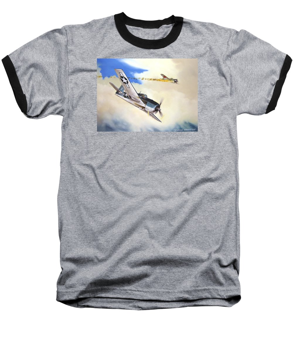 Military Baseball T-Shirt featuring the painting Victory For Vraciu by Marc Stewart