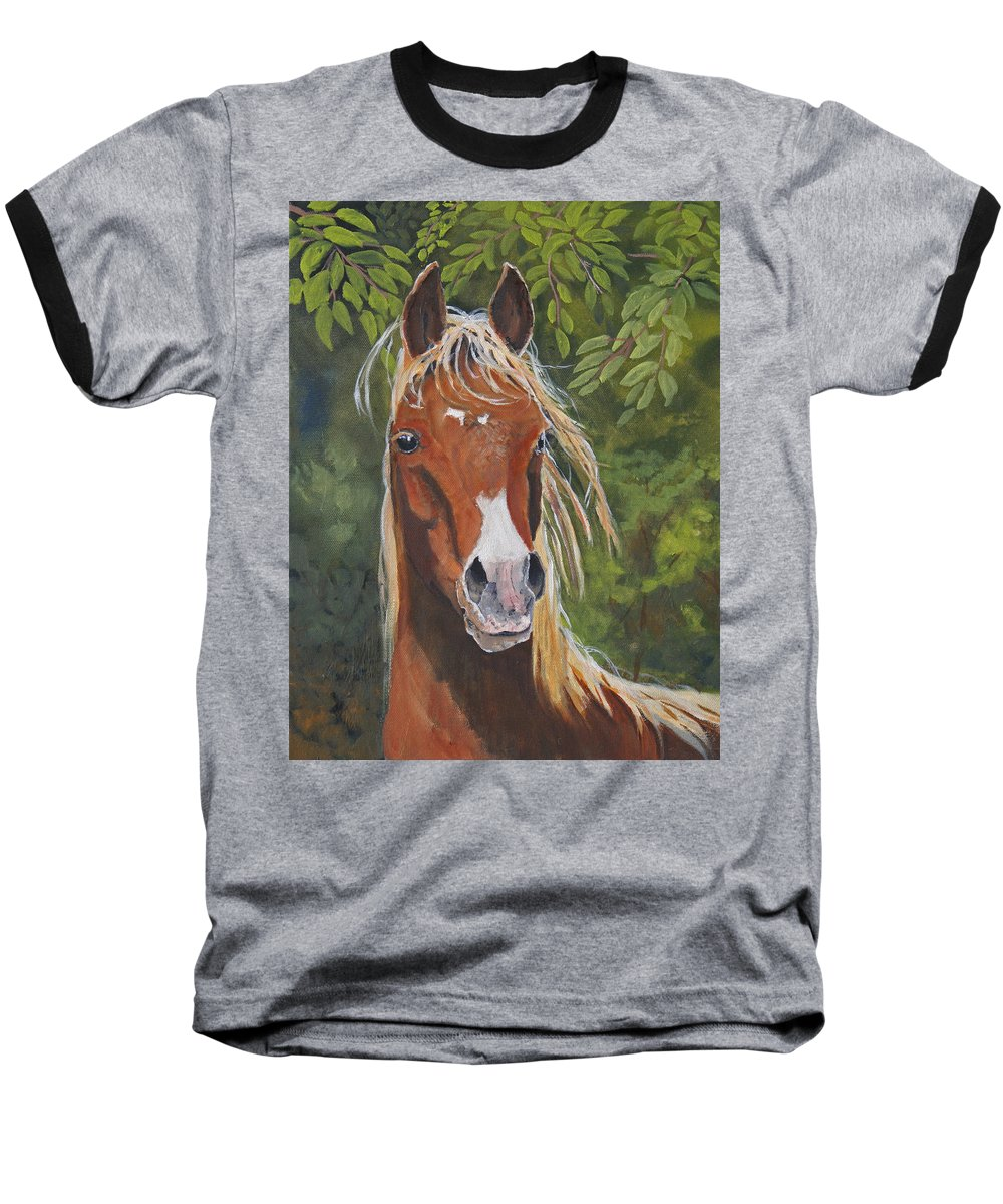 Horse Baseball T-Shirt featuring the painting Victory by Heather Coen