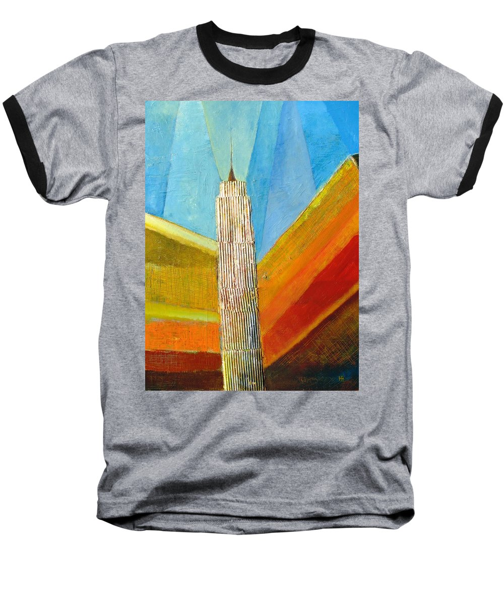 Abstract Cityscape Baseball T-Shirt featuring the painting View From 34th St by Habib Ayat
