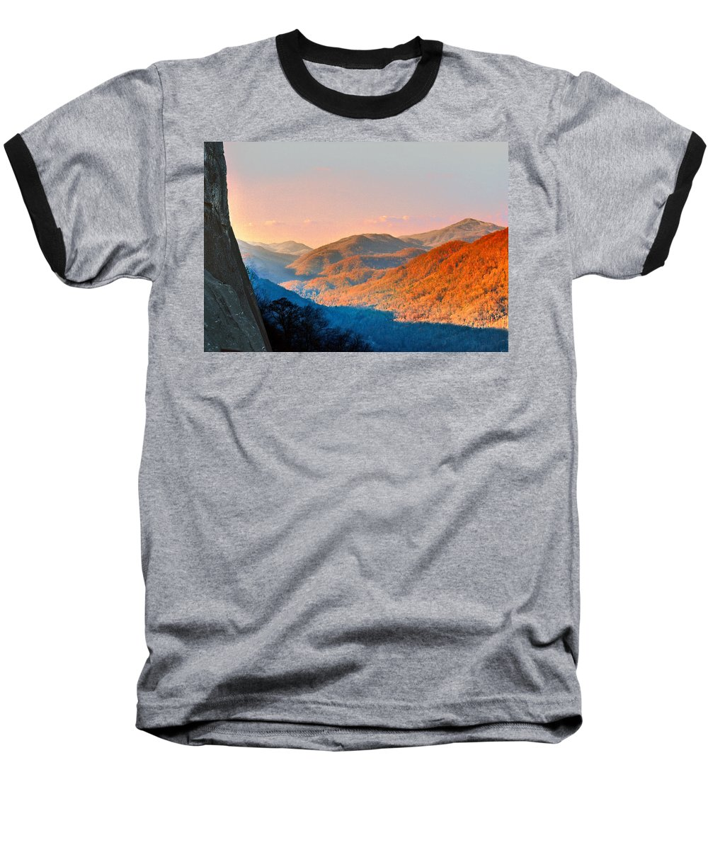 Landscape Baseball T-Shirt featuring the photograph View From Chimney Rock-north Carolina by Steve Karol