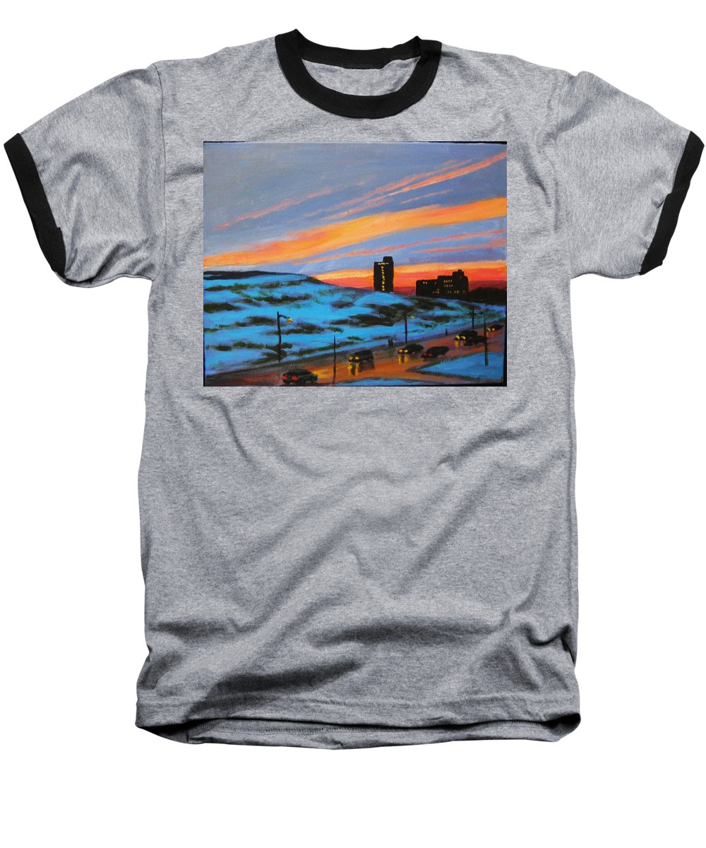 City At Night Baseball T-Shirt featuring the painting View From My Balcony by John Malone