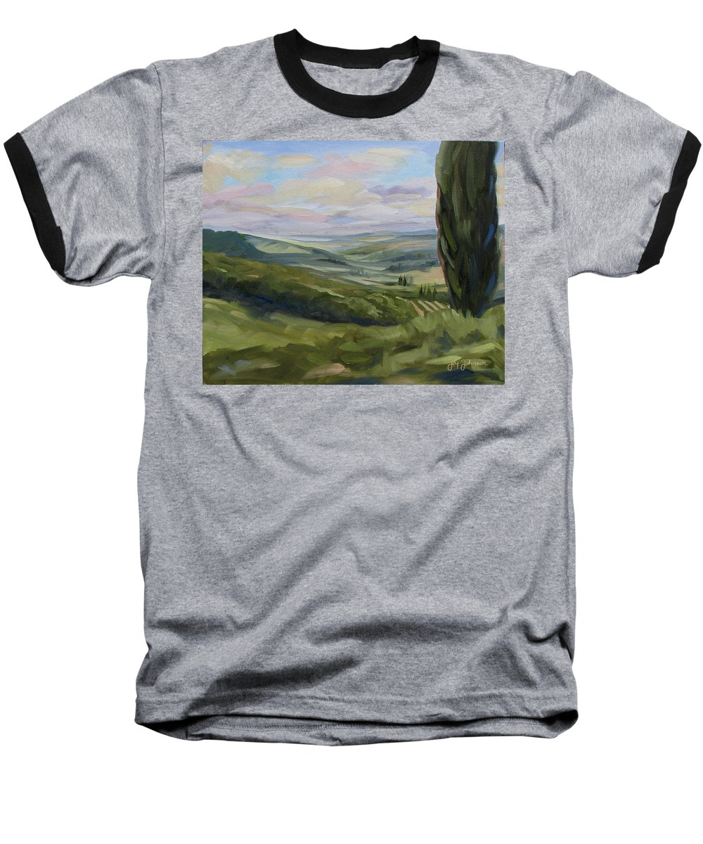 Landscape Baseball T-Shirt featuring the painting View From Sienna by Jay Johnson