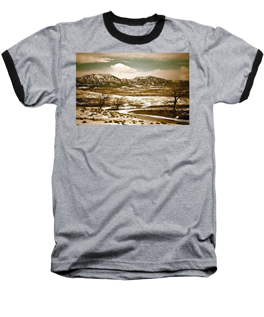 Landscape Baseball T-Shirt featuring the photograph Flatironsview From Superior by Marilyn Hunt