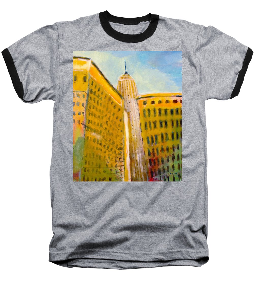 Abstract Cityscape Baseball T-Shirt featuring the painting View From The 33 St by Habib Ayat