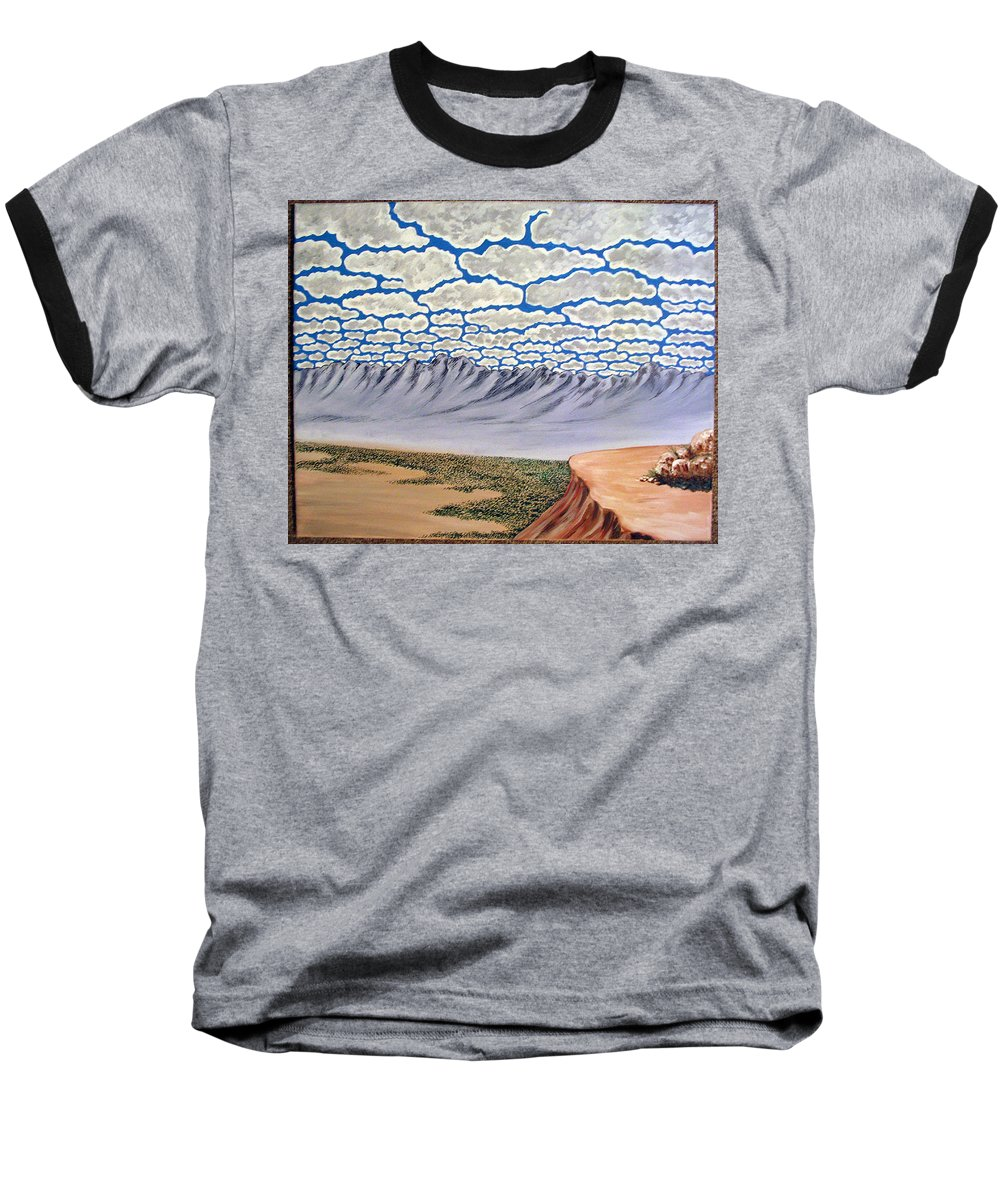 Desertscape Baseball T-Shirt featuring the painting View From The Mesa by Marco Morales