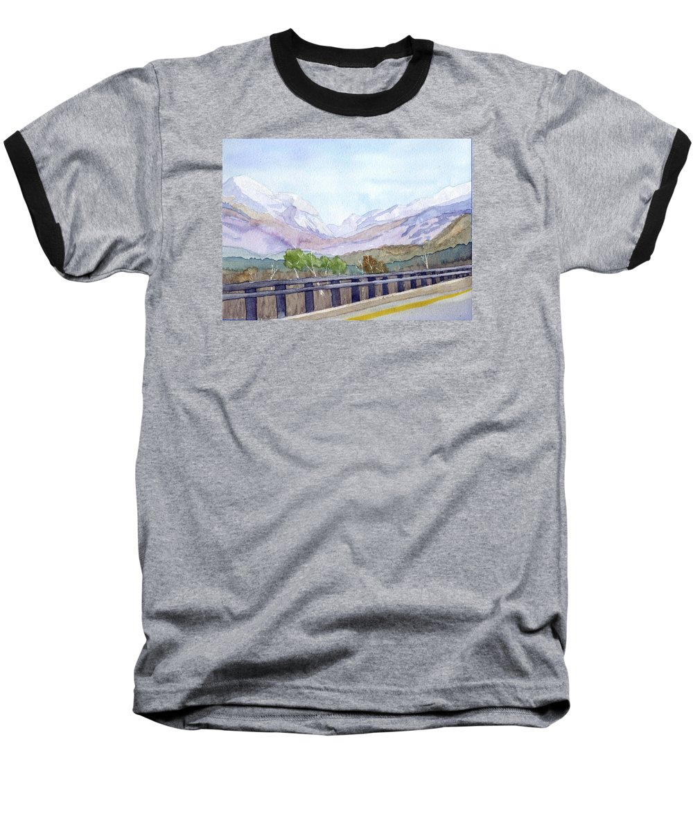 Franconia Notch Baseball T-Shirt featuring the painting View Of Franconia Notch by Sharon E Allen