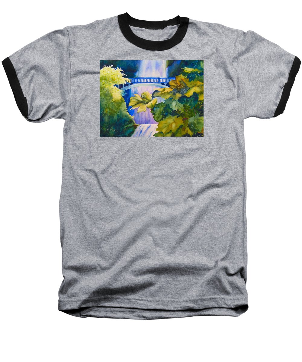 Waterfall Baseball T-Shirt featuring the painting View Of The Bridge by Karen Stark