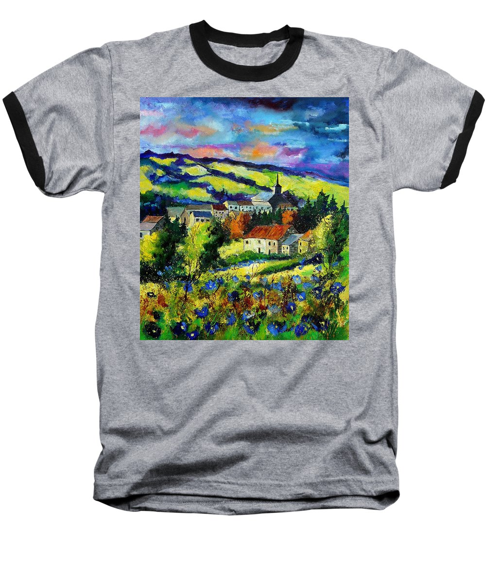 Landscape Baseball T-Shirt featuring the painting Village And Blue Poppies by Pol Ledent