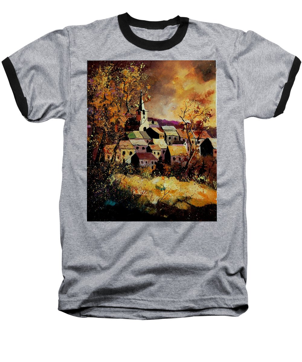 River Baseball T-Shirt featuring the painting Village In Fall by Pol Ledent
