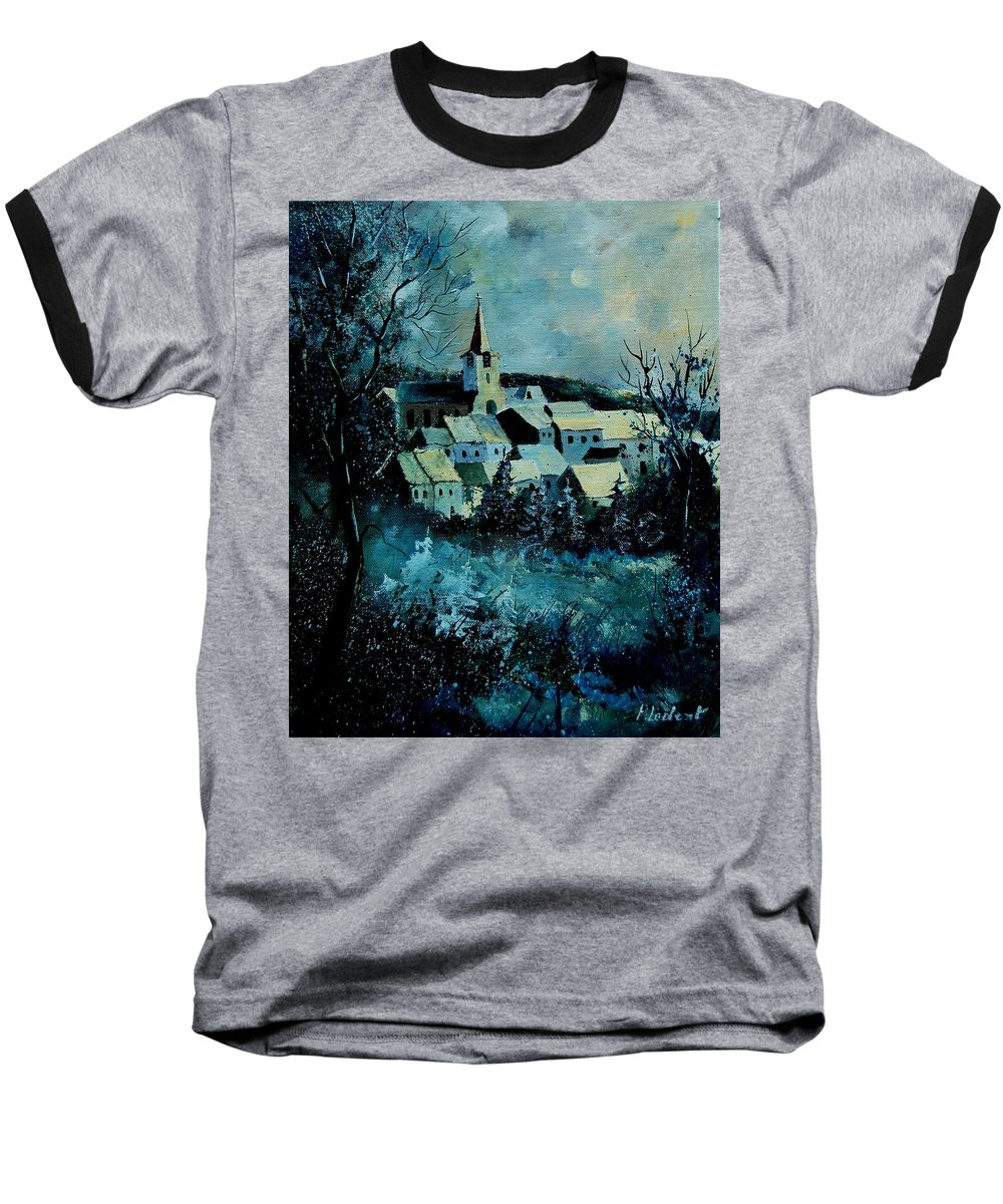 River Baseball T-Shirt featuring the painting Village In Winter by Pol Ledent