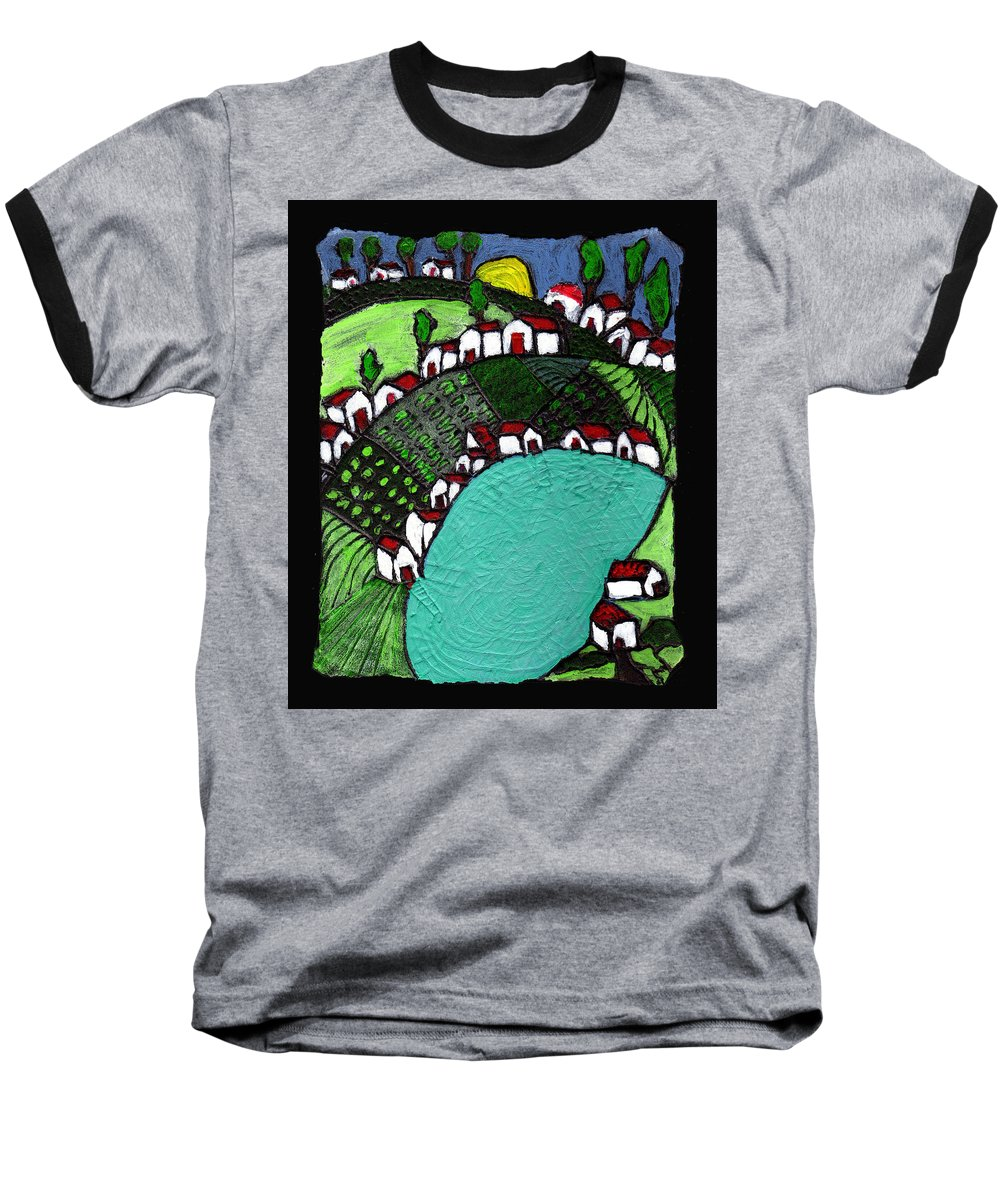 Village Baseball T-Shirt featuring the painting Villlage By The Pond by Wayne Potrafka