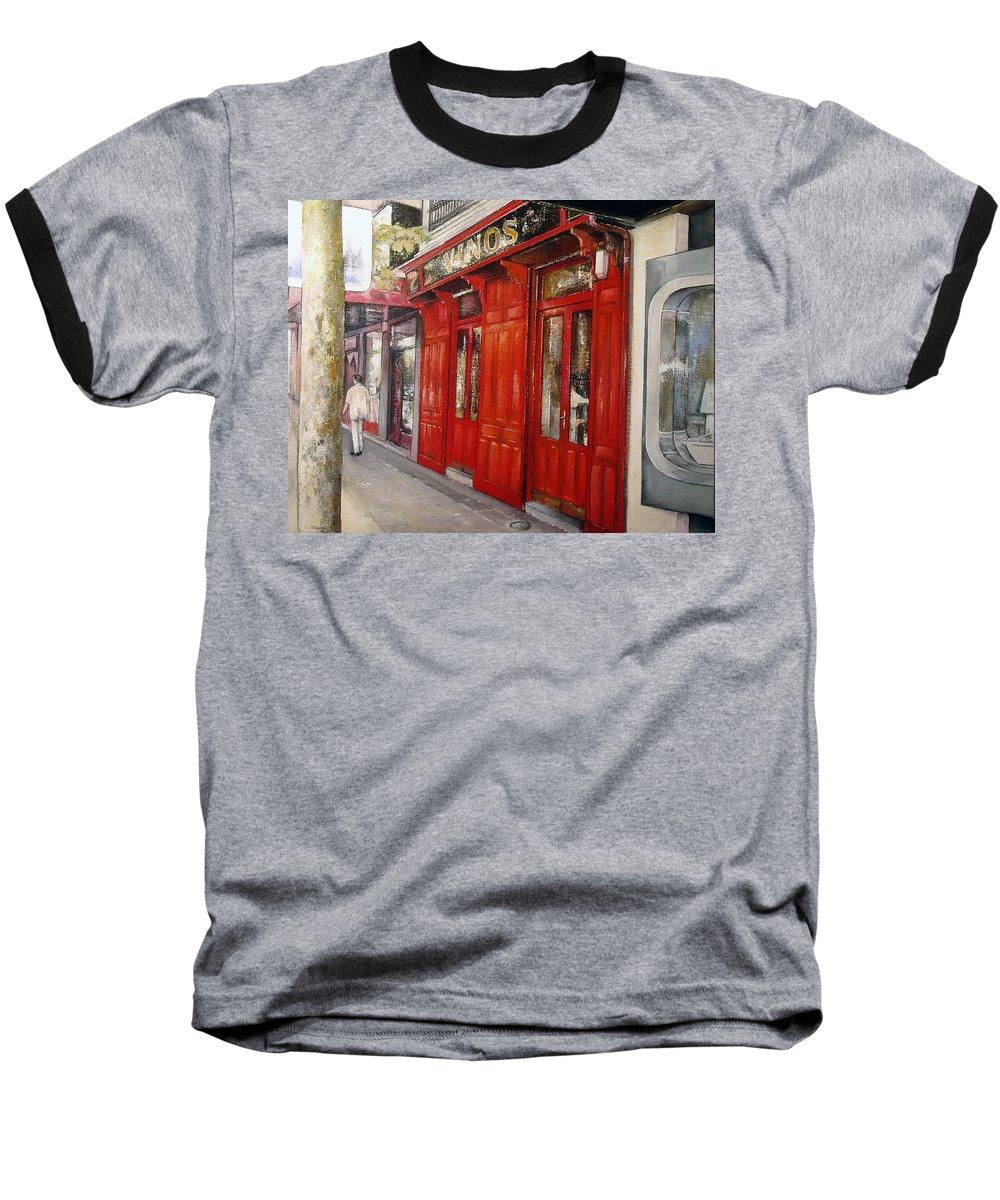 Urban Baseball T-Shirt featuring the painting Vinos Sagasta by Tomas Castano