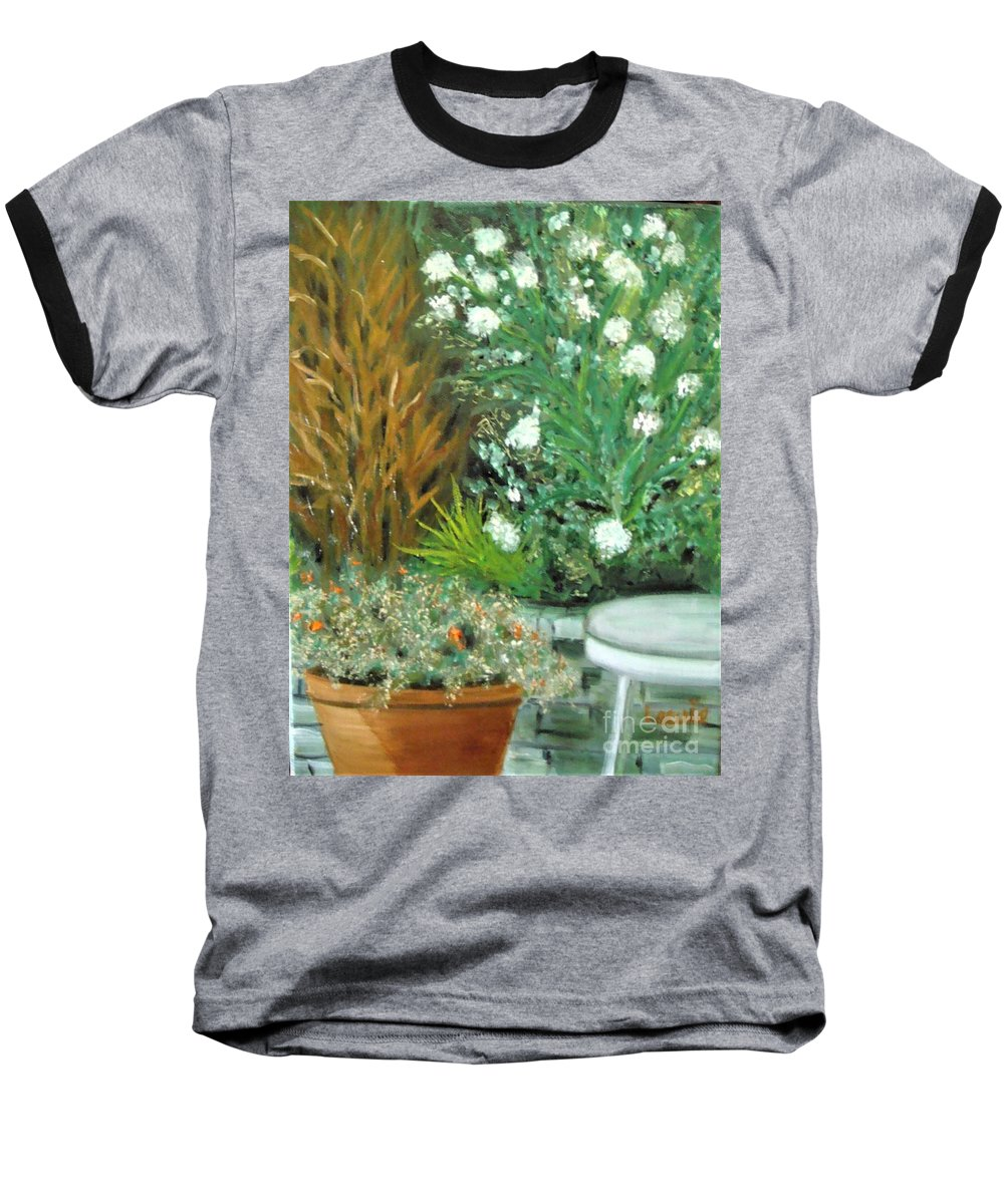 Virginia Baseball T-Shirt featuring the painting Virginia's Garden by Laurie Morgan
