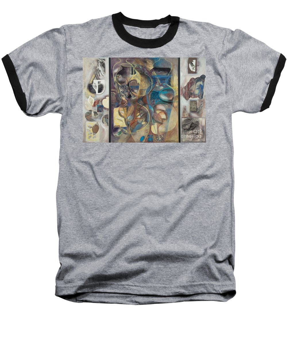 Vessels Baseball T-Shirt featuring the painting Visible Traces by Kerryn Madsen-Pietsch
