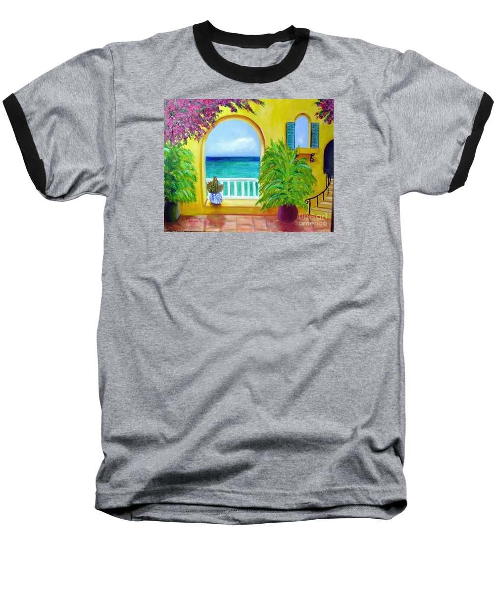 Patio Baseball T-Shirt featuring the painting Vista Del Agua by Laurie Morgan