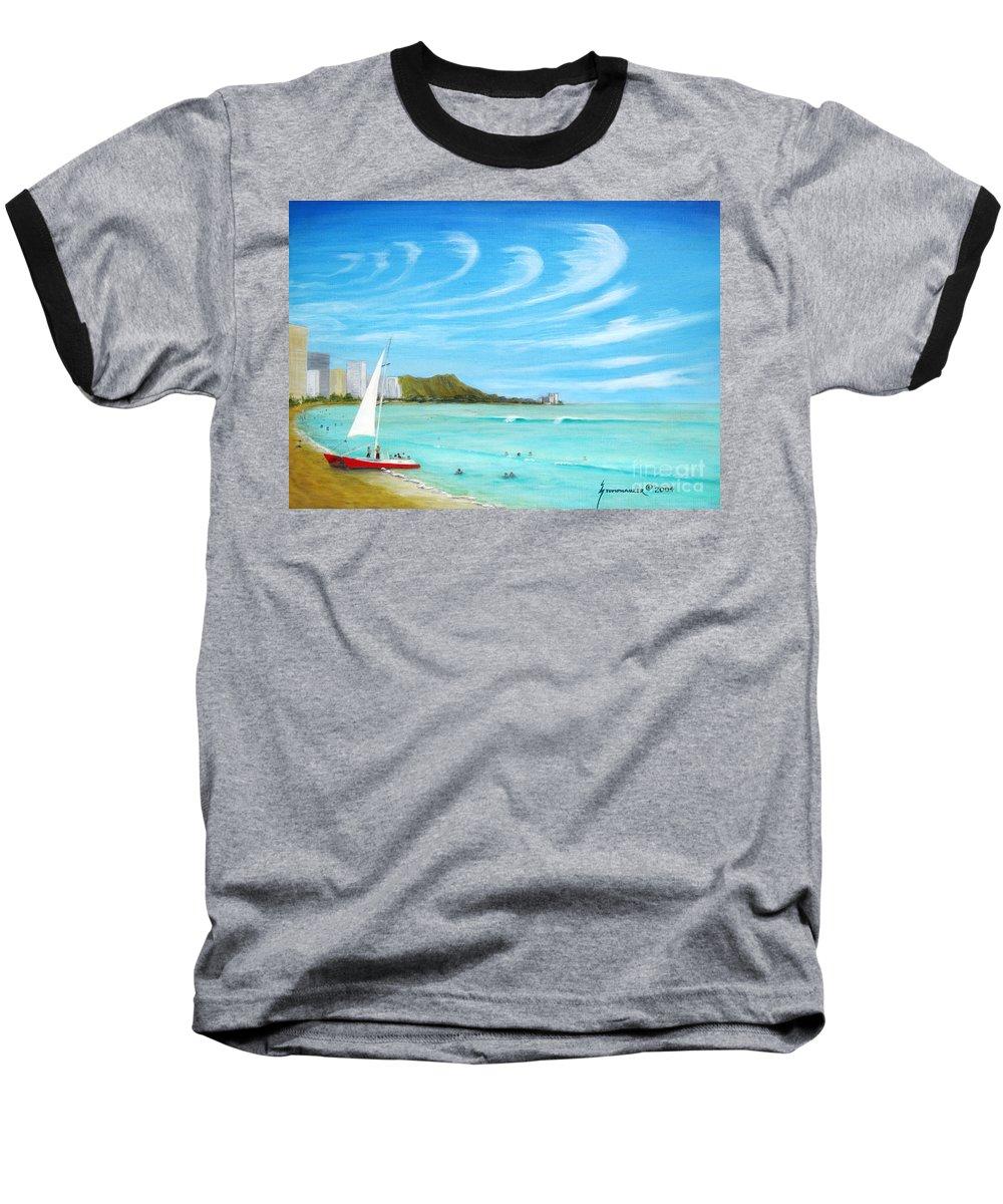 Waikiki Baseball T-Shirt featuring the painting Waikiki by Jerome Stumphauzer