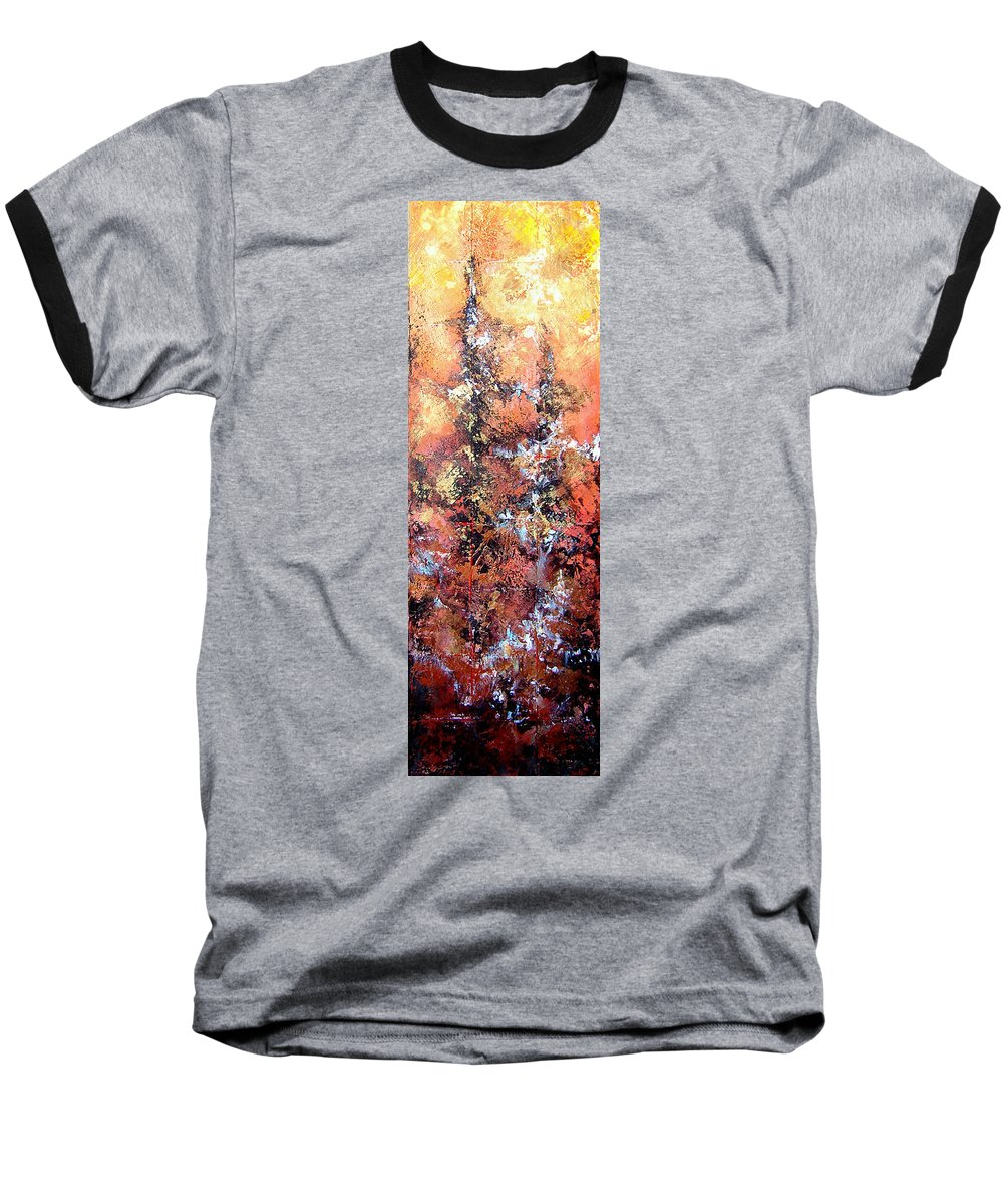 Tile Baseball T-Shirt featuring the painting Wait For Sleep by Shadia Derbyshire