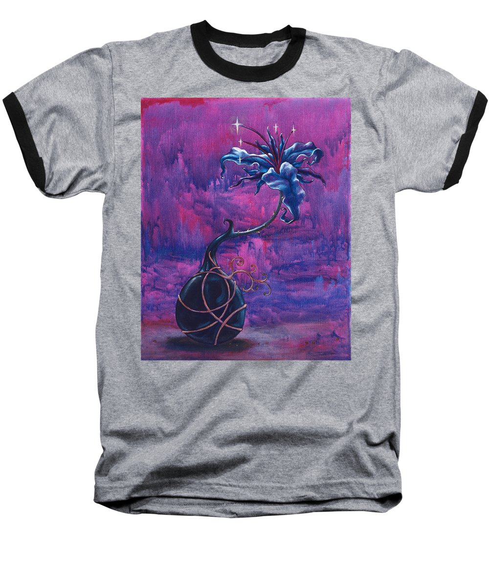 Lily Baseball T-Shirt featuring the painting Waiting Flower by Jennifer McDuffie