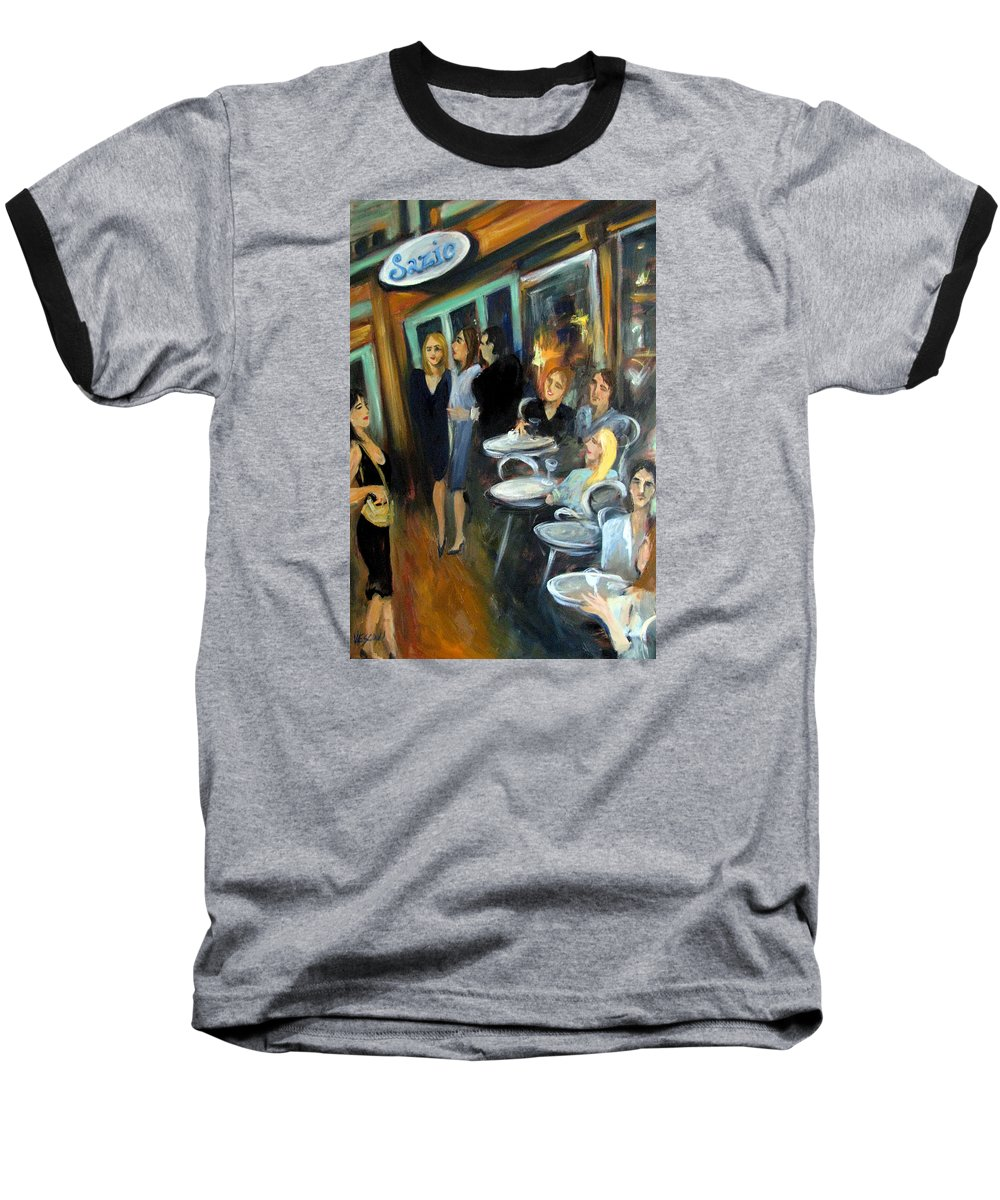 Sidewalk Cafe Baseball T-Shirt featuring the painting Waiting For A Table by Valerie Vescovi