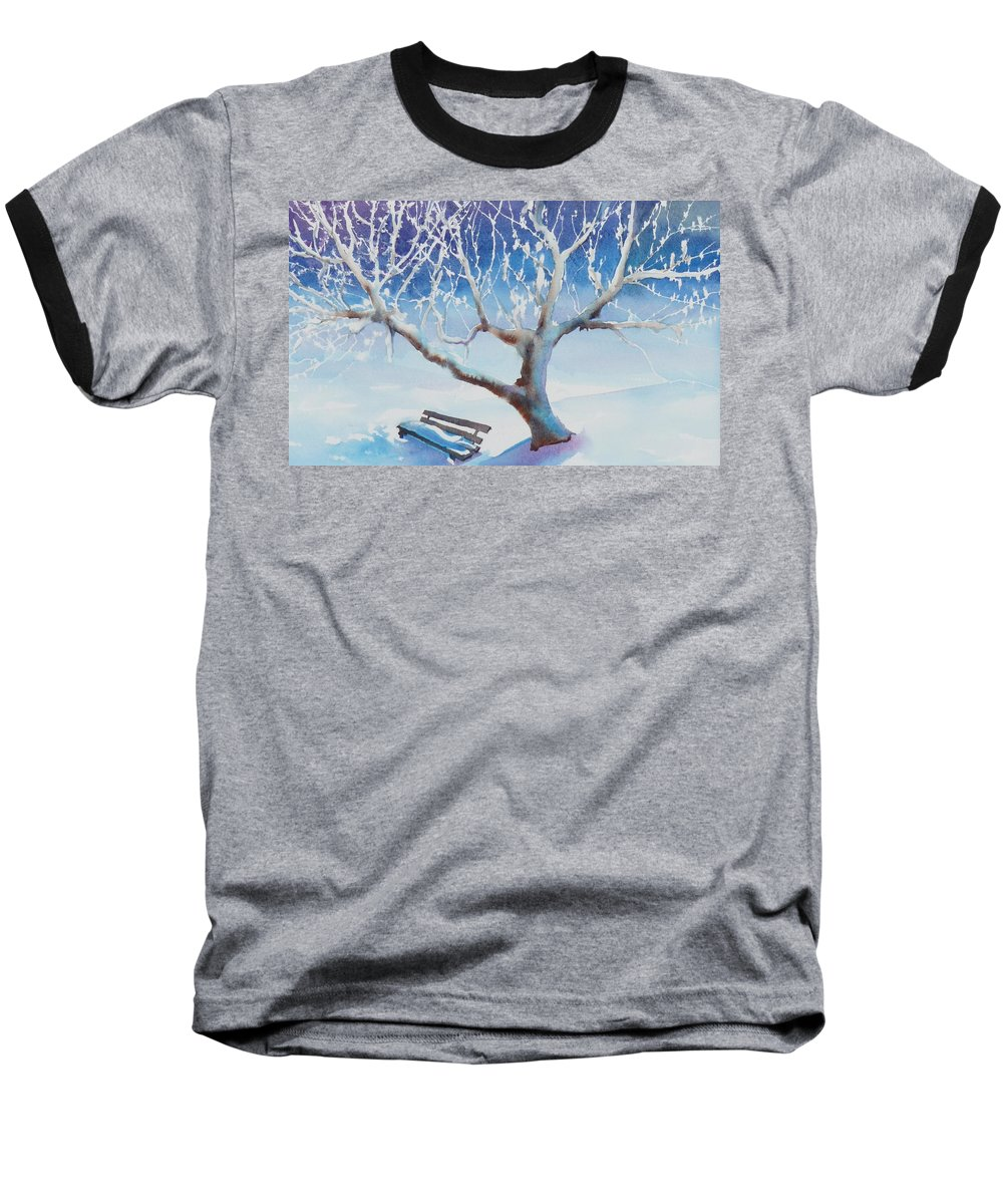 Snow Baseball T-Shirt featuring the painting Waiting For Spring by Ruth Kamenev