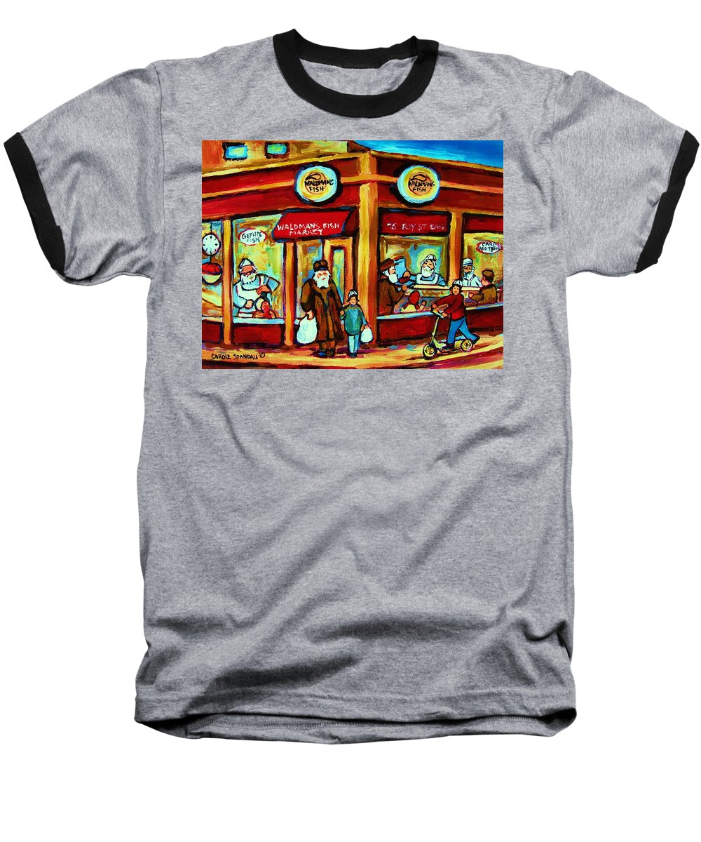 Montreal Baseball T-Shirt featuring the painting Waldmans In Montreal by Carole Spandau