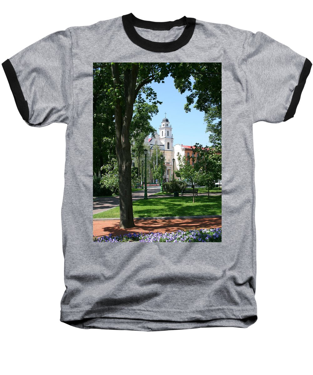 Park City Tree Trees Flowers Church Building Summer Blue Sky Green Walk Bench Baseball T-Shirt featuring the photograph Walk In The Park by Andrei Shliakhau
