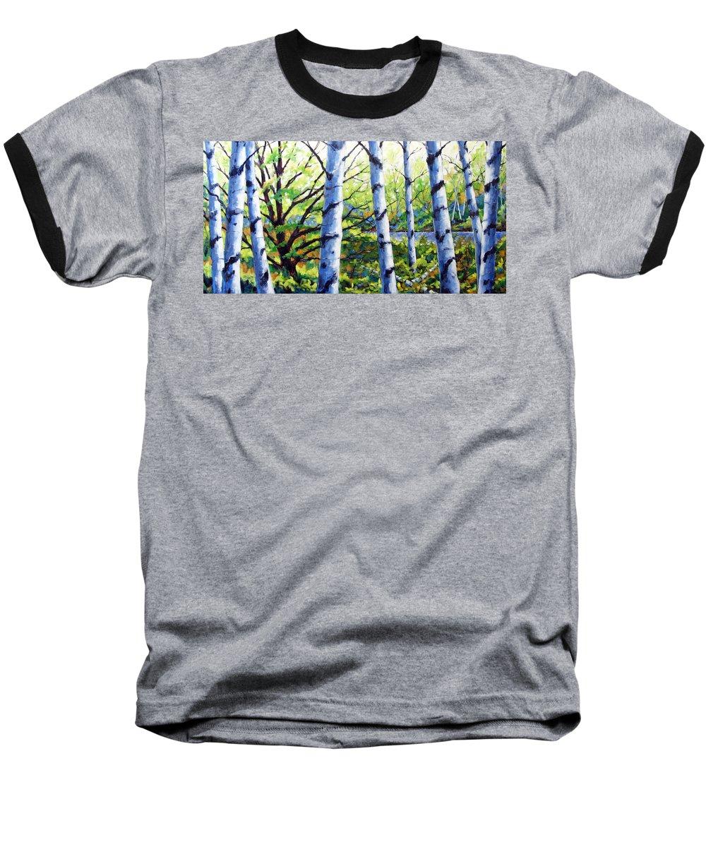 Lake Baseball T-Shirt featuring the painting Walk To The Lake by Richard T Pranke