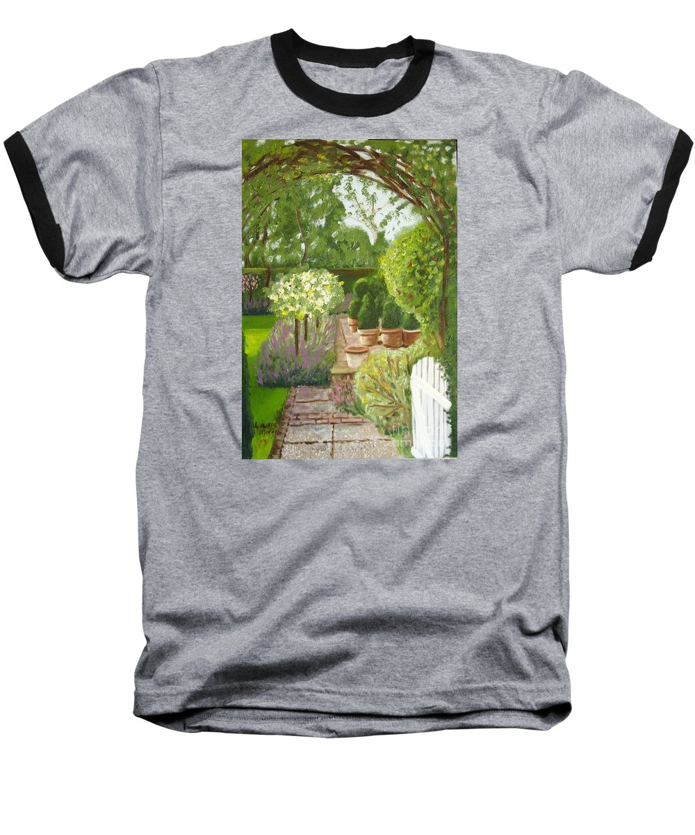 Garden Baseball T-Shirt featuring the painting Walk With Me by Laurie Morgan