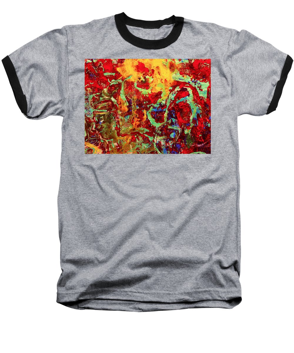 Abstract Baseball T-Shirt featuring the painting Walking In The Garden by Natalie Holland