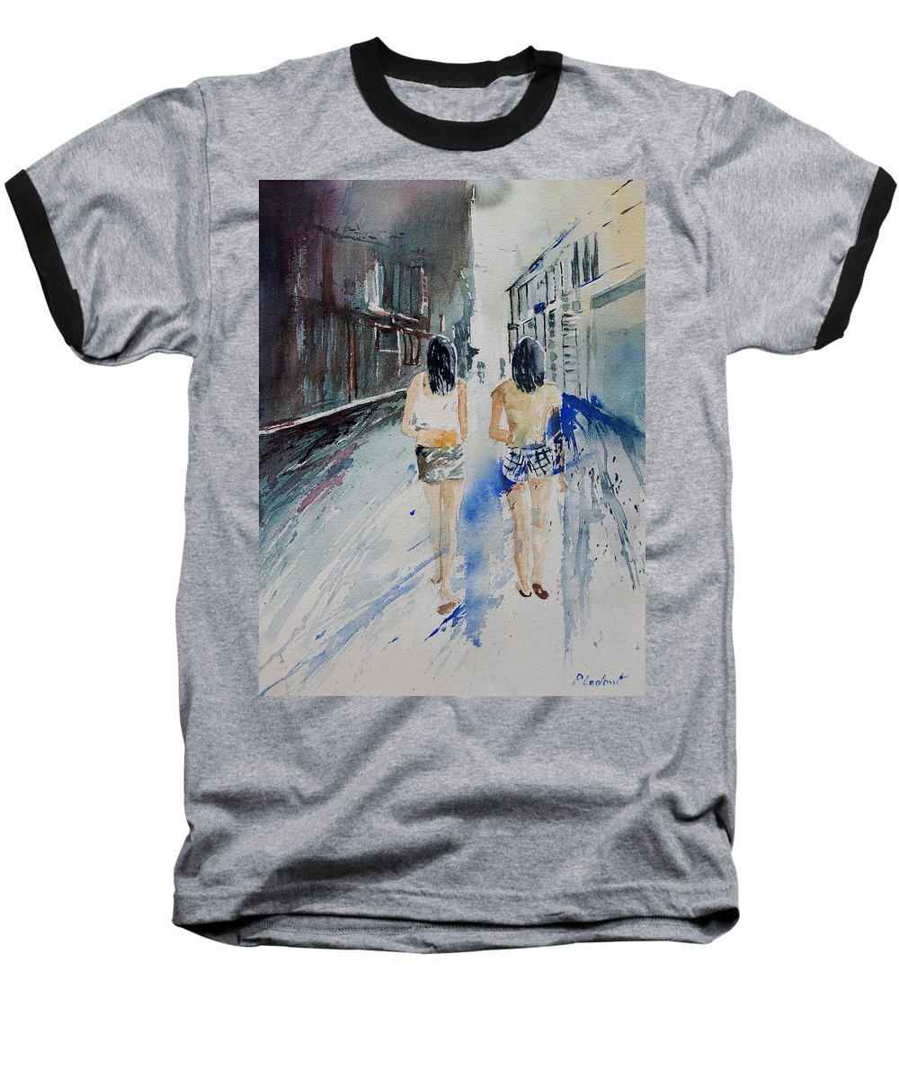 Girl Baseball T-Shirt featuring the painting Walking In The Street by Pol Ledent