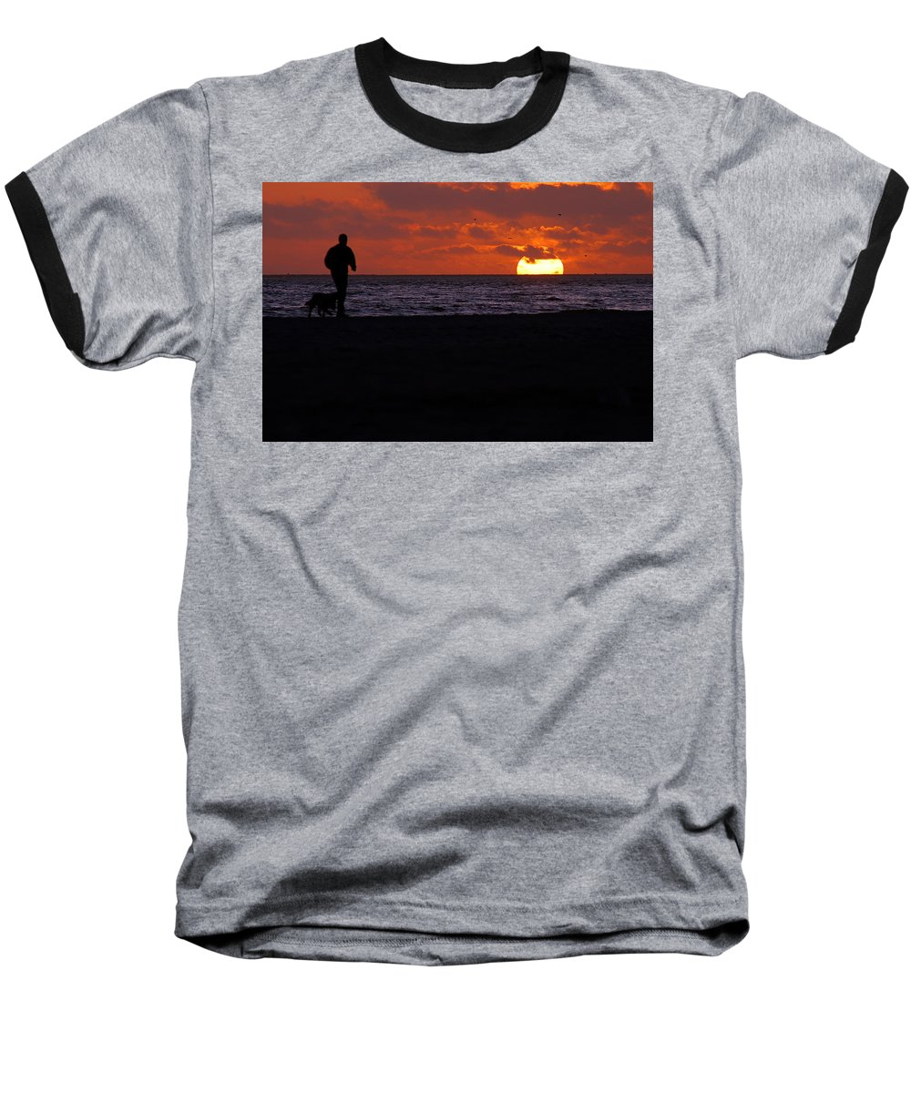 Clay Baseball T-Shirt featuring the photograph Walking The Dog by Clayton Bruster