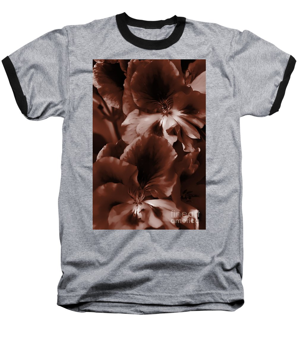 Clay Baseball T-Shirt featuring the photograph Warm Tone Monochrome Floral Art by Clayton Bruster