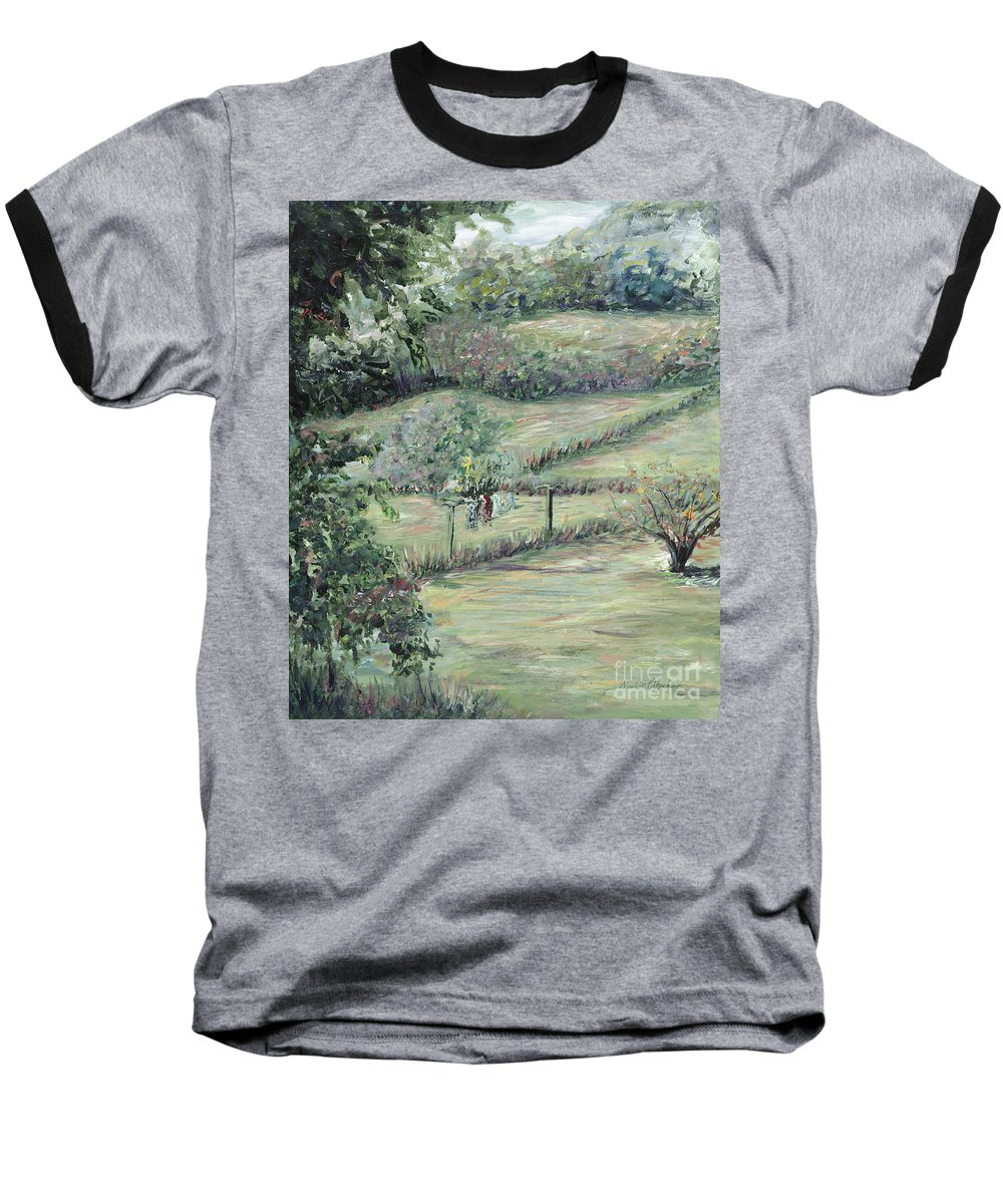 Landscape Baseball T-Shirt featuring the painting Washday In Provence by Nadine Rippelmeyer