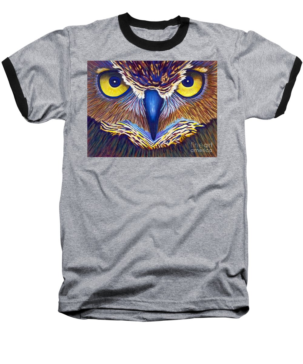 Owl Baseball T-Shirt featuring the painting Watching by Brian Commerford