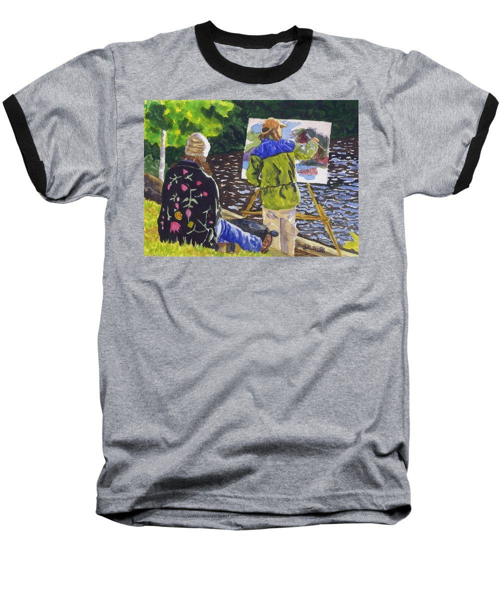 Artist Baseball T-Shirt featuring the painting Watching The Maestro by Sharon E Allen