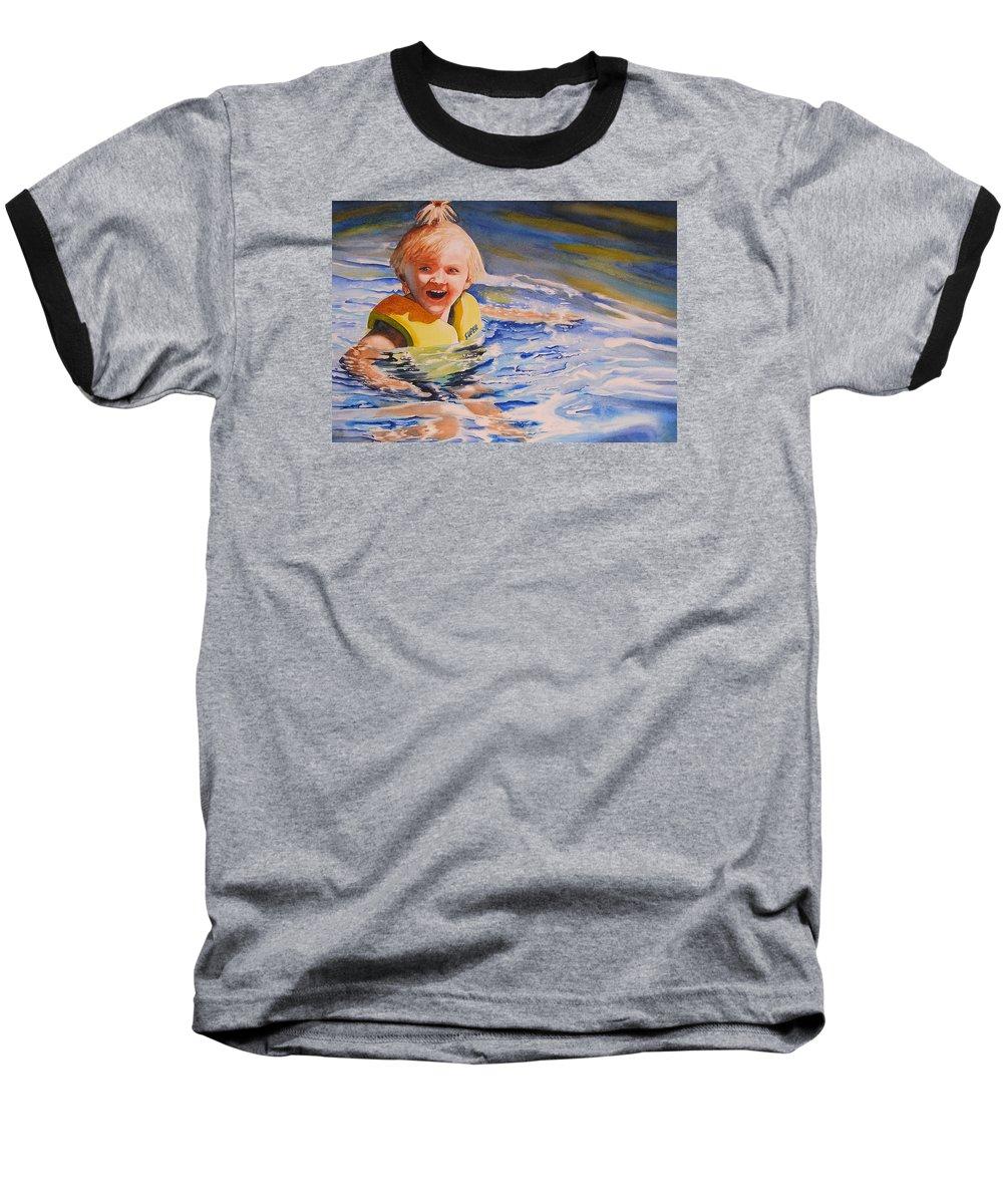Swimming Baseball T-Shirt featuring the painting Water Baby by Karen Stark