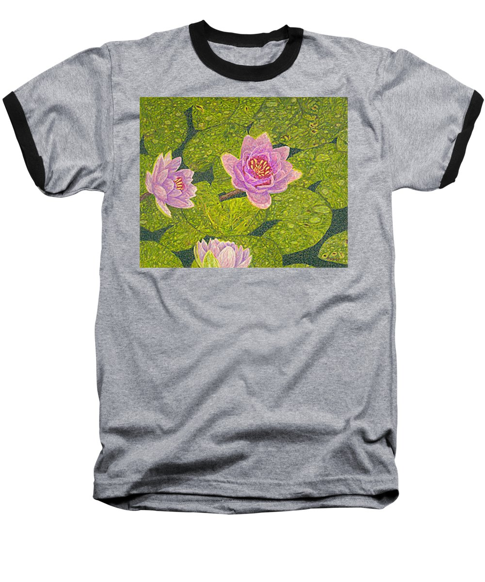 Water Lilies Baseball T-Shirt featuring the drawing Water Lilies Lily Flowers Lotuses Fine Art Prints Contemporary Modern Art Garden Nature Botanical by Baslee Troutman