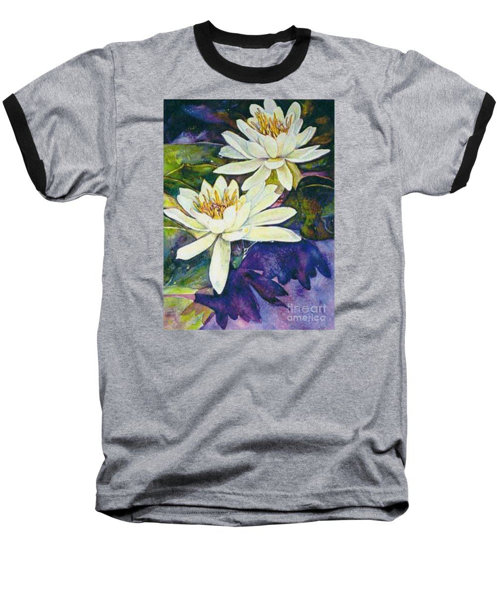 Flower Baseball T-Shirt featuring the painting Water Lilies by Norma Boeckler