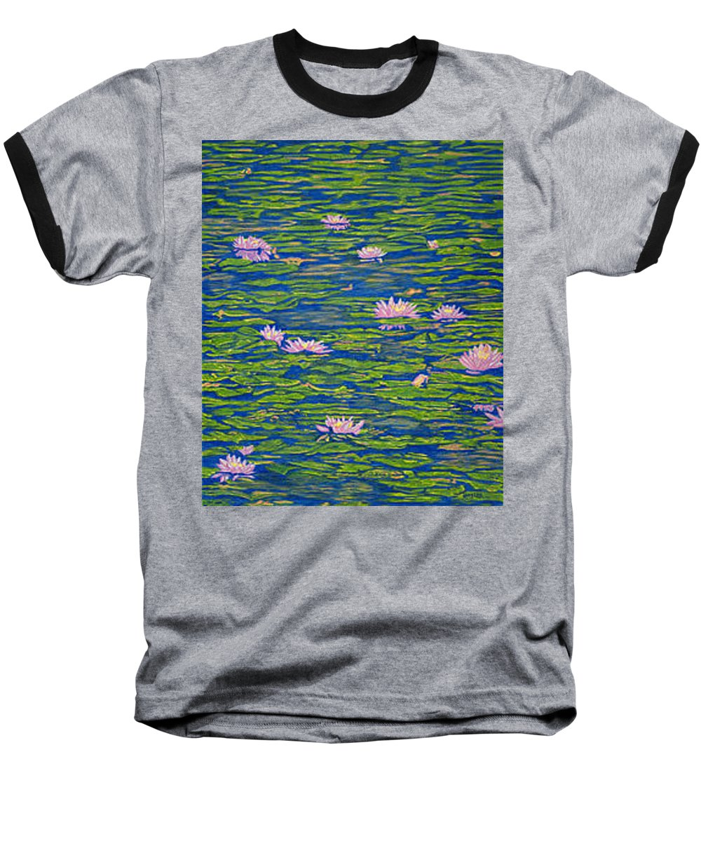 Lotuses Baseball T-Shirt featuring the drawing Water Lily Flowers Happy Water Lilies Fine Art Prints Giclee High Quality Impressive Color Lotuses by Baslee Troutman
