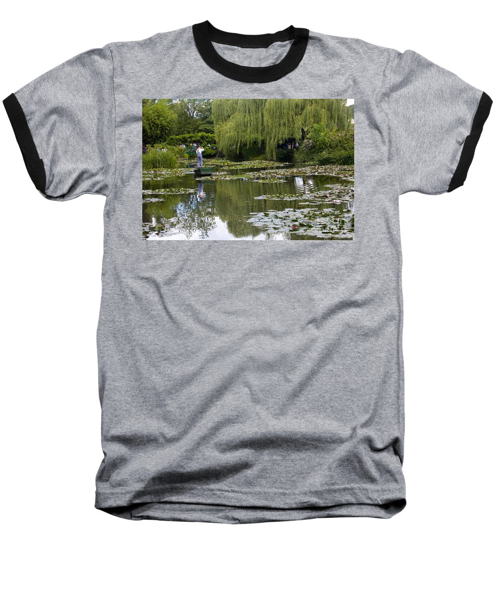 Monet Gardens Giverny France Water Lily Punt Boat Water Willows Baseball T-Shirt featuring the photograph Water Lily Garden Of Monet In Giverny by Sheila Smart Fine Art Photography