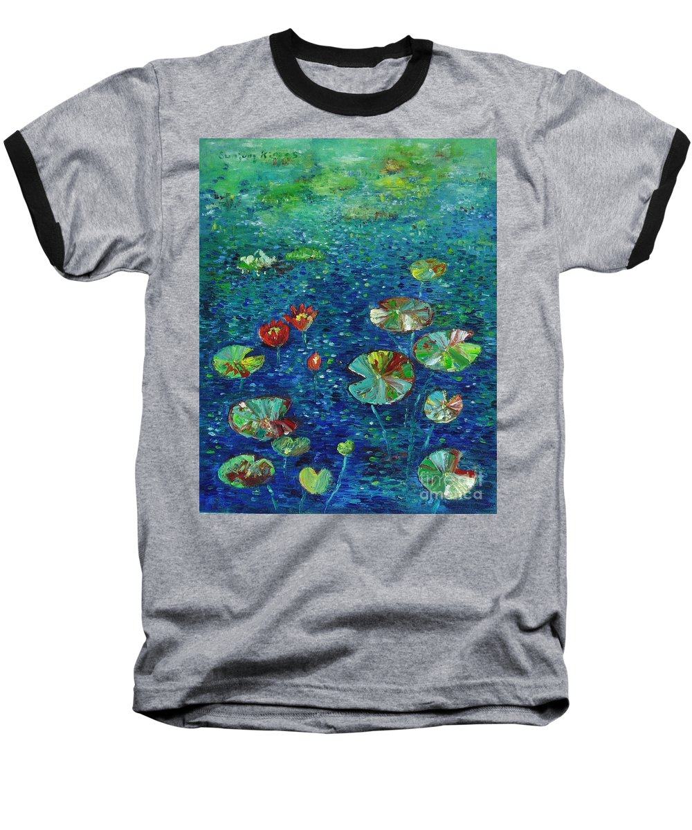 Lotus Paintings Baseball T-Shirt featuring the painting Water Lily Lotus Lily Pads Paintings by Seon-Jeong Kim